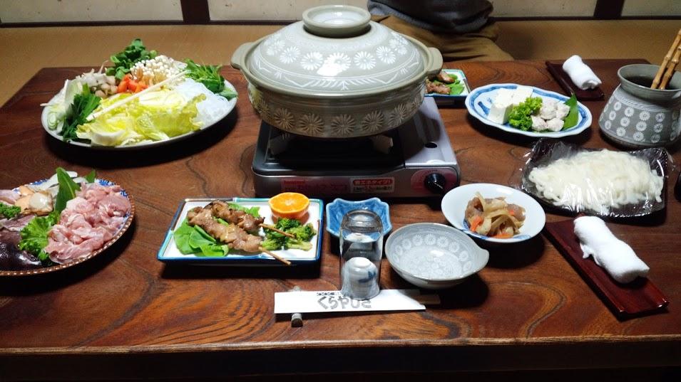 参考まで、2月に筆者が利用した際に食した鍋。 懐石料理も食べられます。